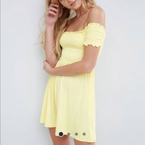 NWT yellow ASOS off shoulder shirring dress
